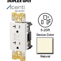 Acenti AC552-A 5-20R 29 Amp Surge Protection Duplex Receptacle - Natural