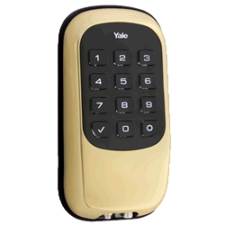 D110ZW605 - Motorized Z-Wave Keyless Deadbolt w/Push Buttons - Bright Brass