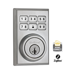 99100-019 - ZigBee Contemporary Style Motorized Deadbolt w/Home Connect - Satin Chrome
